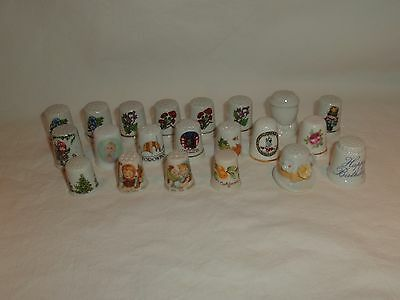 21 Vintage Assorted Porcelain Collector Thimbles