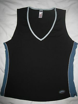 George V neck sleeveless sports top, black with teal trim, S12 (label says S14)