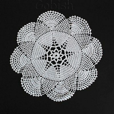 Crocheted white color handmade round doily lace tablecloth christmas home decor