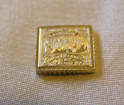 Solid Silver Stamp Usa 1869 15-Cent Landing-Of-Columbus Invert United States
