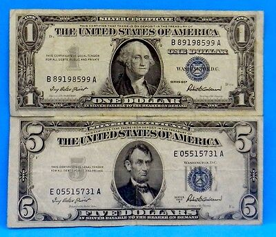 2 US Currency 1957 $1 & 1953 A $5 Silver Certificates Blue Seal in Leather Case
