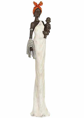 Hill Interiors African Lady with Baby Tall Statue Ornament Home Décor Figurine