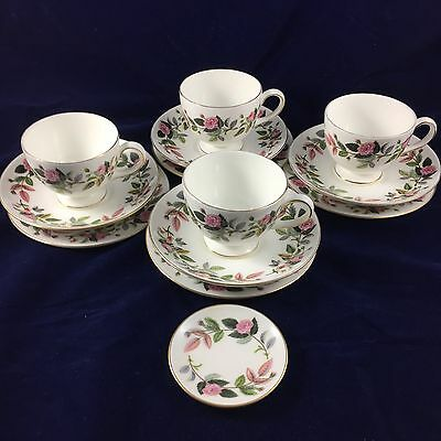 Wedgwood Hathaway Rose - 4 Trios, Cup, Saucer, Plate.