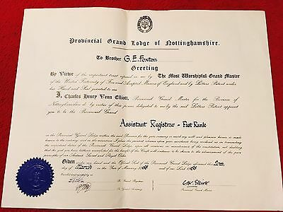 Grand Lodge Of Nottinghamshire Large Certificate . Year: 1968