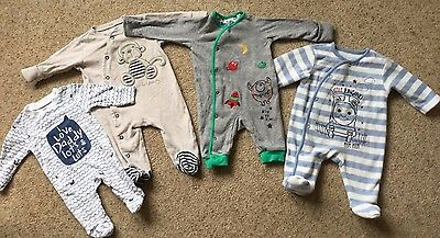 Bundle Of 4 Baby Boys Babygrows  0-3 Months  Ex Cond