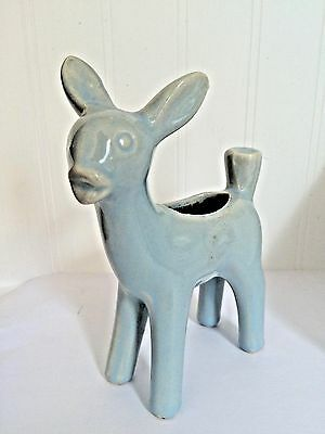 """VTG Mid Century table decoration soft baby BLUE  Deer Pottery Planter XMASS 7"""""""