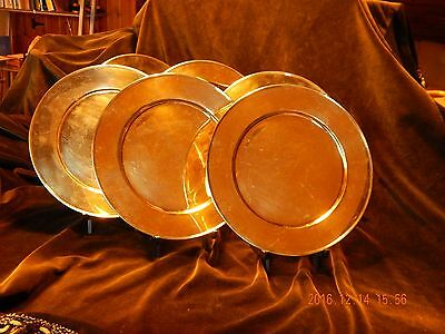 """Set of 6 Tiffany & Co.  11"""" gold-washed Sterling Silver Charger Plates"""