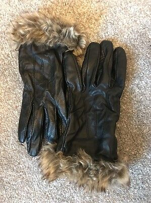 Women's Leather Dents Gloves With Faux Fur