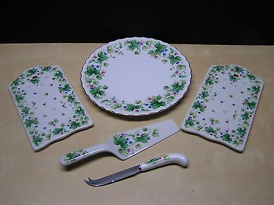 Andrea by Sadek Vineyard Pattern Pie Cake Serving Set, Cheese Tray Hostess Gift