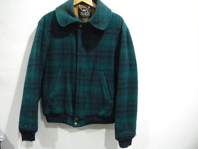 Men's Vintage Woolrich Green Tartan Wool Jacket Made in USA Size Small