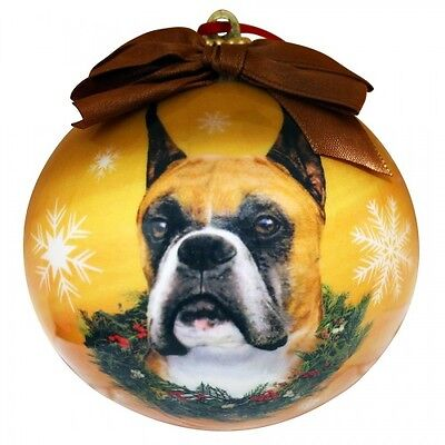 Boxer Cropped Shatterproof Ball Dog Christmas Ornament