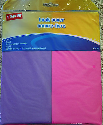 Book Cover Stretchable  Purple and Pink 2 Pack
