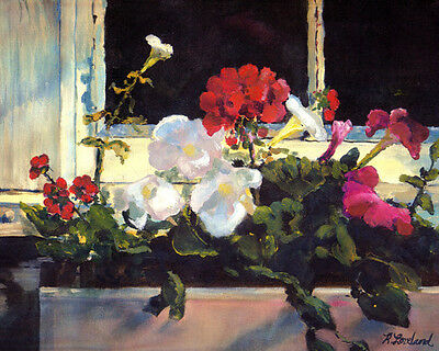 """Flowers in Window Box Signed Giclee Art Print of Oil Painting 10"""" x 8"""" Loveland"""