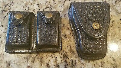 Tex Shoemaker Handcuffs Holster & Double Black Lather Clip Holder