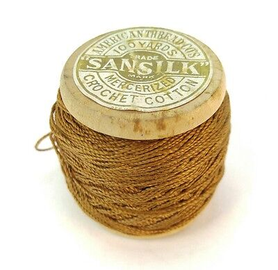 """VINTAGE WOODEN SPOOL, """"SANSILK"""" THREAD THE AMERICAN THREAD CO. Antique Sewing"""