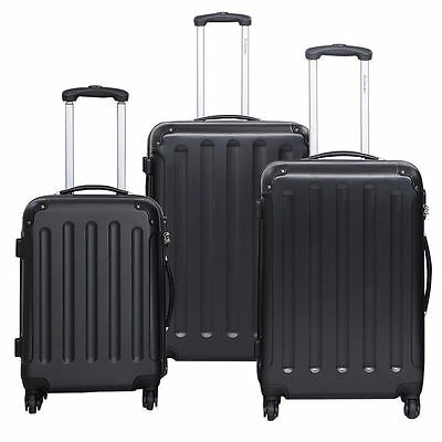 New 3 Pcs Luggage Travel Set Bag ABS PC Trolley Suitcase Black