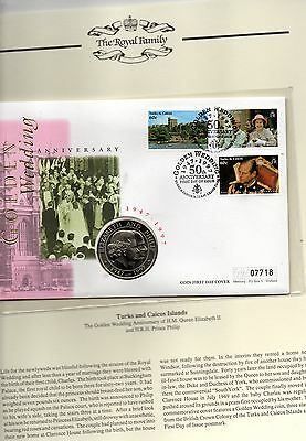 TURKS & CAICOS ISLANDS 1997 GOLDEN WEDDING COIN LIMITED EDITION  FDC & 5 crown