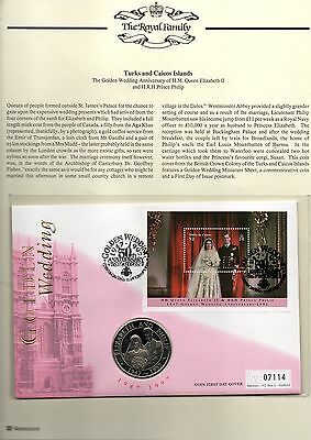 TURKS & CAICOS ISLANDS 1997 GOLDEN WEDDING COIN FDC 07114 and 5 crown coin