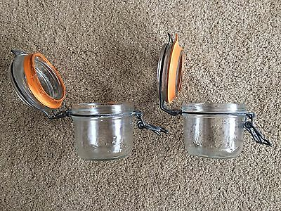 """Vintage Le Parfait Super 200 Canning Jar 3 1/2"""" Tall Made In France (Two Jars!!)"""