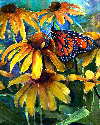 Butterfly Brown Eyed Susans Signed Giclee Art Print of Watercolor painting