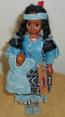 Vintage Tribal Plastic Doll w Baby in Papoose~BEADS~Blue leather Suedes