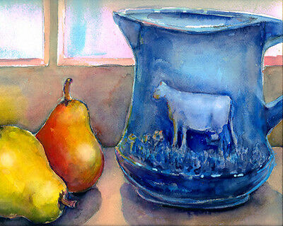 Vintage Blue Cow Pitcher Pears Signed Giclee Art Print of Watercolor painting