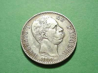 Italy 2 Lire 1884 Gorgeous Silver Coin