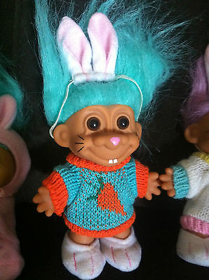 Troll Doll Russ Vintage Rare Easter Bunny Carrot Sweater Toy Collectable