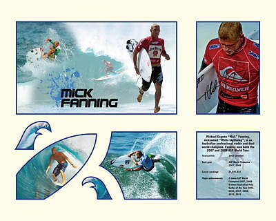 "Mick Fanning Memorabilia 16x20"" Ivory/Blue Limited Edition FRAMED"