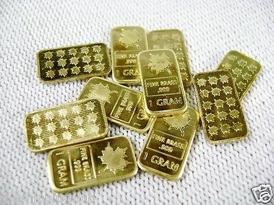 10 x BRASS 1g gram MAPLE LEAF BARS BRASS .999 Fine Mint Bullion
