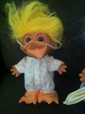Troll Doll Russ Vintage Rare Easter Chick Chicken Duck Toy Collectable