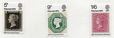 "GB = 1970 ""Philympia 70"" Stamp Exhibition set/3. SG 835/837. Mint Hinged."