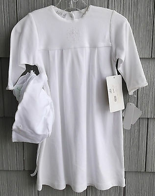 3PC Kissy Kissy White Christening Gown Outfit Hat Booties New With Tag 9-12 Mths