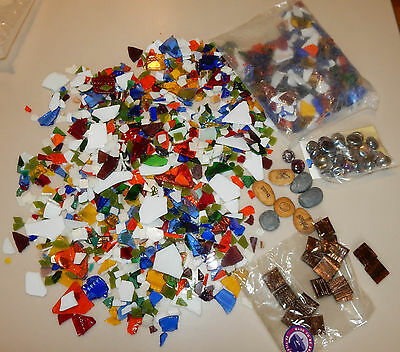 3 Pounds + Stained Glass Pieces Mosaic Tiles Scrap Crafts