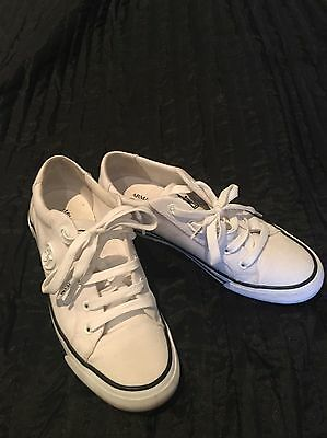 Armani Jeans Ladies White And Navy Sneakers. Women's Armani Designer Runners