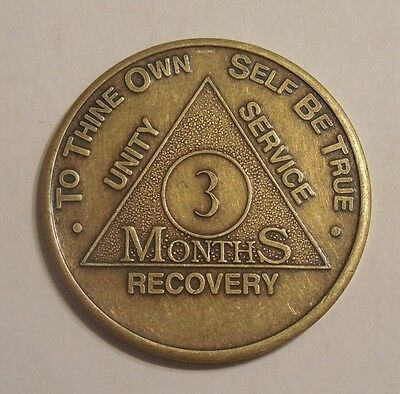 aa bronze alcoholics anonymous 3 month sobriety chip coin token medallion