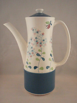 Napcoware Pottery Lilac Time Coffee Tea Chocolate Pot Pitcher Blue Green Flowers