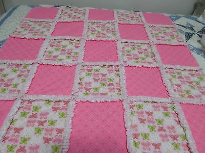 Pink Baby Girl Rag Quilt With Butterflies