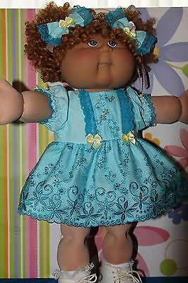 Cabbage Patch Doll Cloths- Blue Tulle Lace dress -matching panties - 2 hair bows
