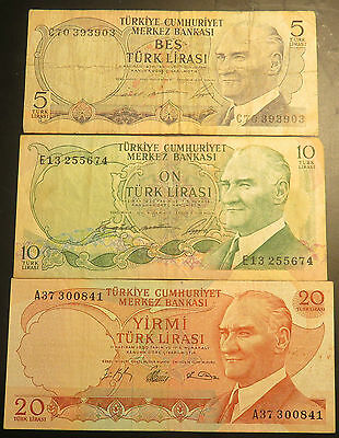 5,10, & 20 Turk Lirasi Turkish Notes