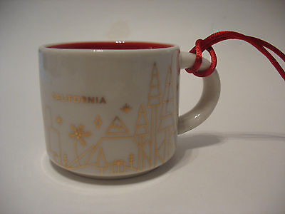 Starbucks You Are Here California Mini Mug Cup Ornament 2oz 2014 Excellent Cond