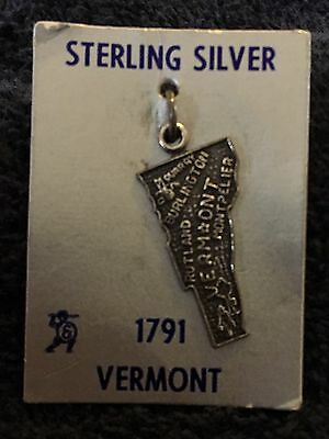 Sterling Silver ~1 grams Vermont 1791 State Charm on Backing
