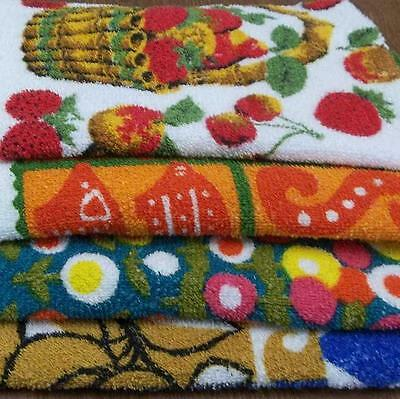 4 Vintage Cannon Terry Cloth Kitchen Tea Hand Towels Mixed Lot Retro Modernist