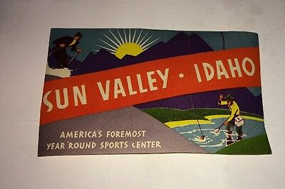 Vintage Hotel Luggage Label SUN VALLEY IDAHO skiing. Not A Reproduction
