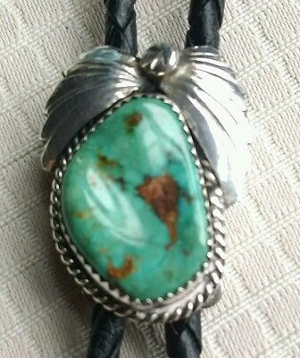Vintage Navajo Turquoise/Silver Rope Tie. Not marked silver.