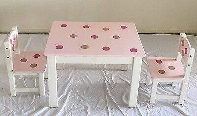Children's Timber Table And Two Chairs