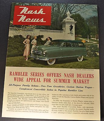 1951 Nash News Catalog Brochure Rambler Greenbrier Wagon Excellent Original 51