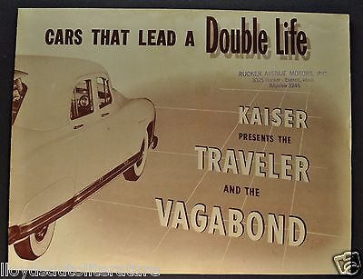 1949 Kaiser Traveler & Vagabond Sales Brochure Folder Excellent Original 49