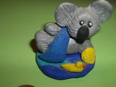 MiNi KOALA, WITH DUCKIE, READY FOR HIS BATH ,  hand crafted, POLYMER  SCULPTURE