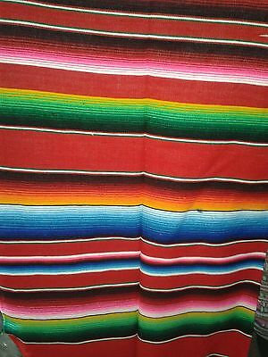 Large Mexican Red Sarape Saltillo Serapes Blanket Bed Hot Rod Cover 5x7 ft # 7